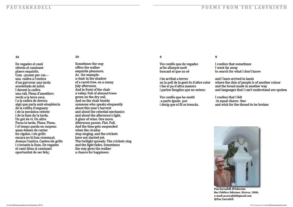 Pau Sarradell - Poems from The labyrinth - Live Encounters Magazine January 2012
