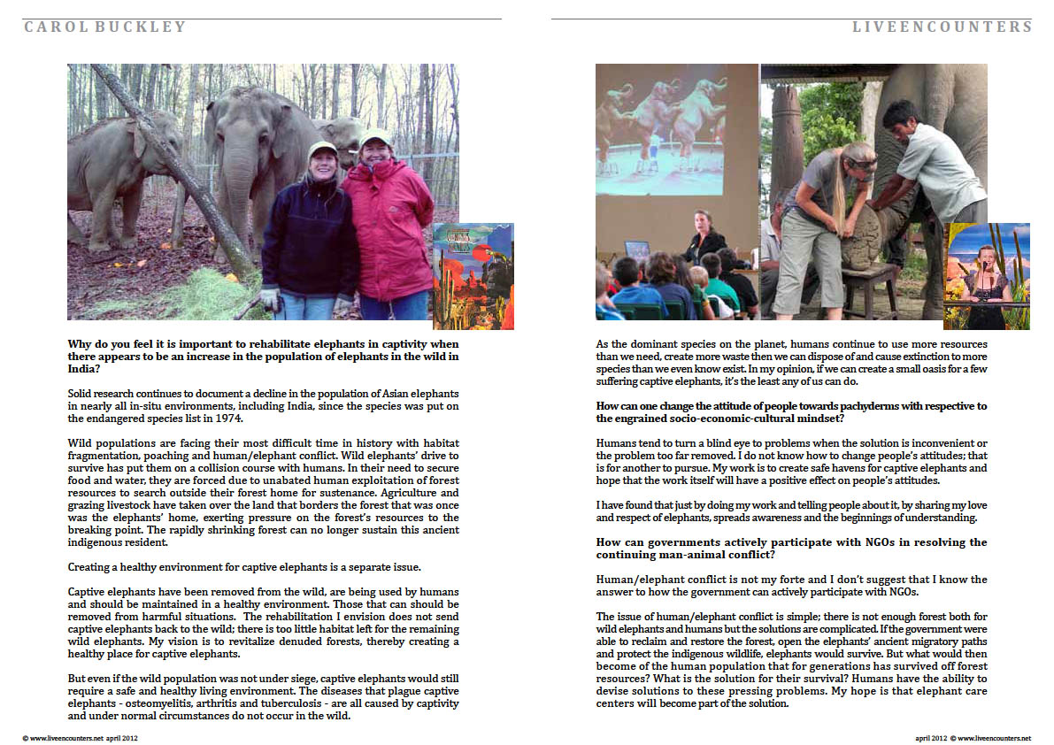 03 Carol Buckley Matriarch of the Herd Live Encounters Magazine April 2012