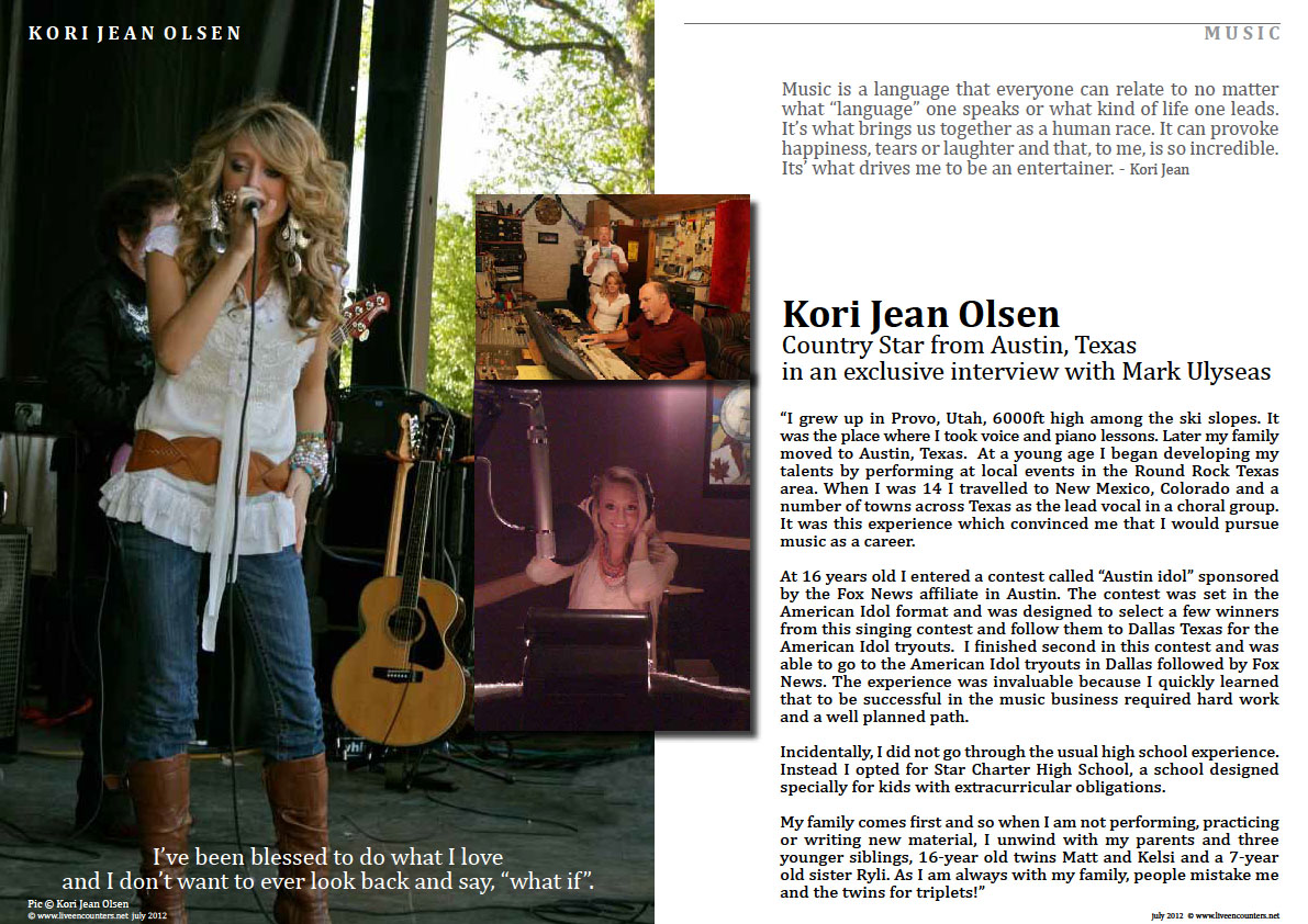 Page One Kori Jean Olsen Live Encounters Magazine July 2012