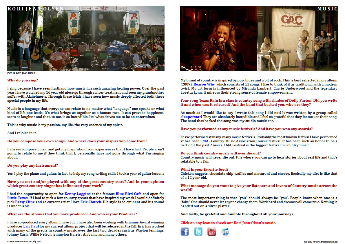 Page Two Kori Jean Olsen Live Encounters Magazine July 2012