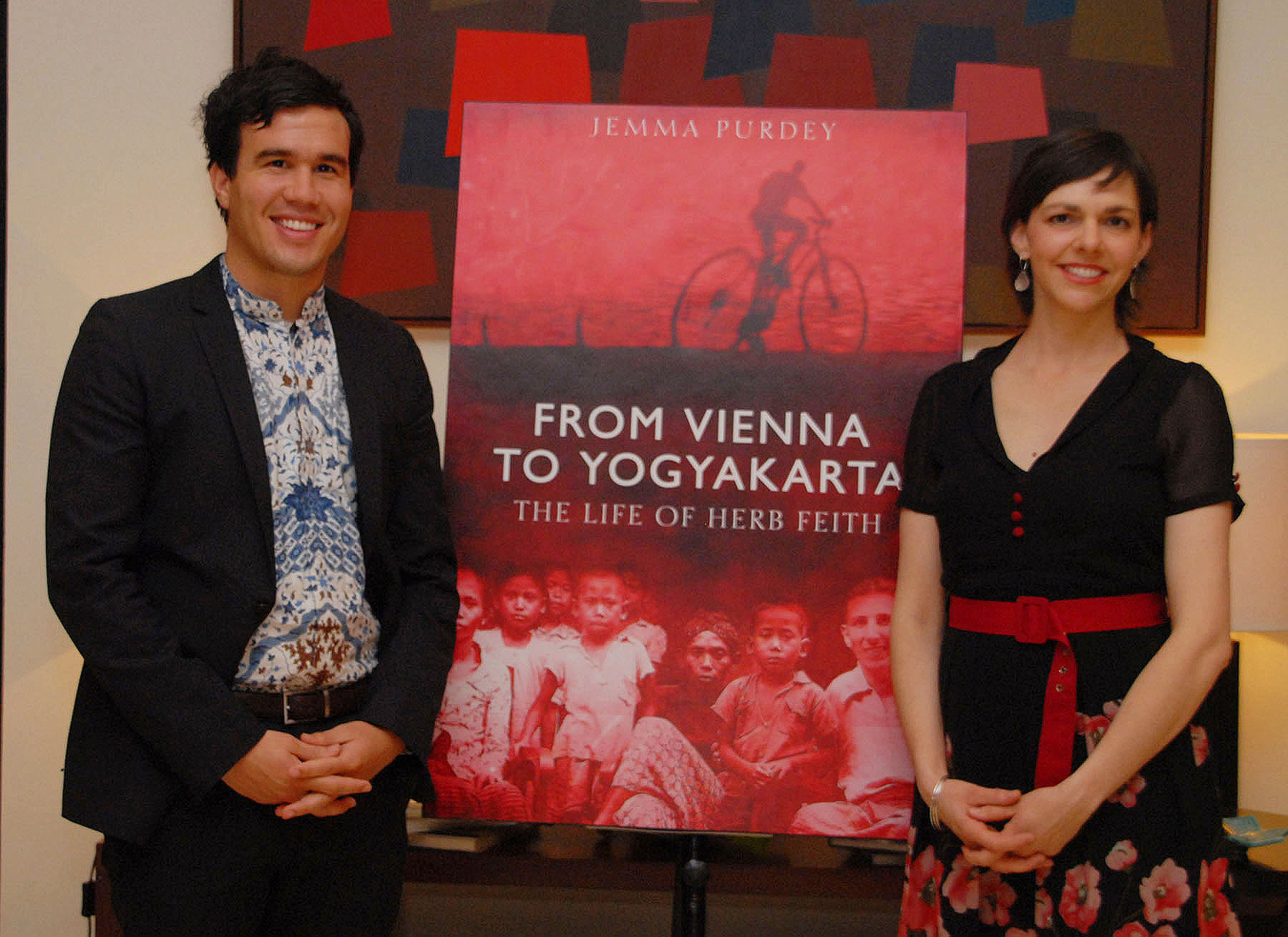 Jemma Purdey with Nik Feith Tan (Herb's grandson) at the launch of the biography in Jakarta, October 2011