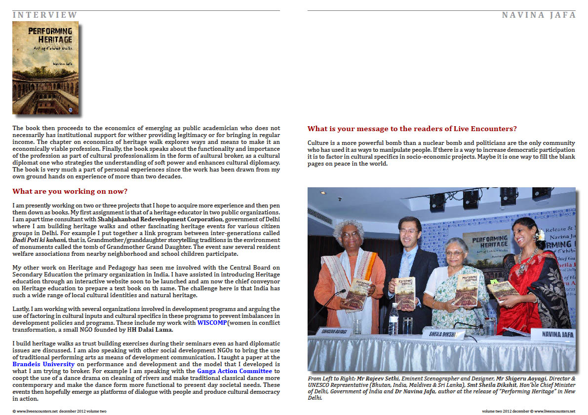 Page Five Navina Jafa Live Encounters Magazine Volume Two December 2012