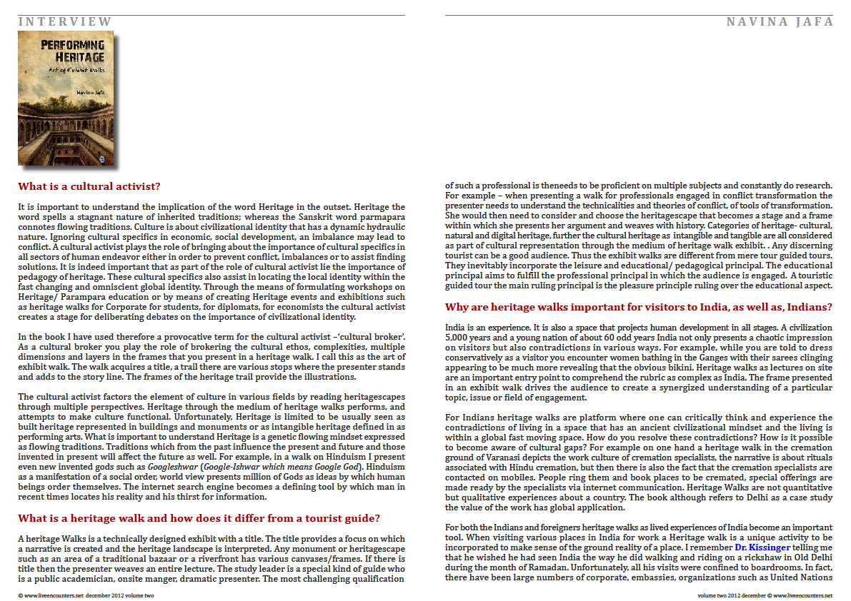 Page Two Navina Jafa Live Encounters Magazine Volume Two December 2012