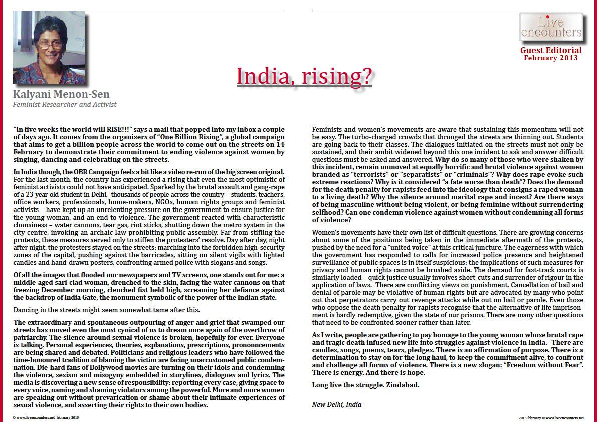 Kalyani Menon Sen LE Mag February 2013