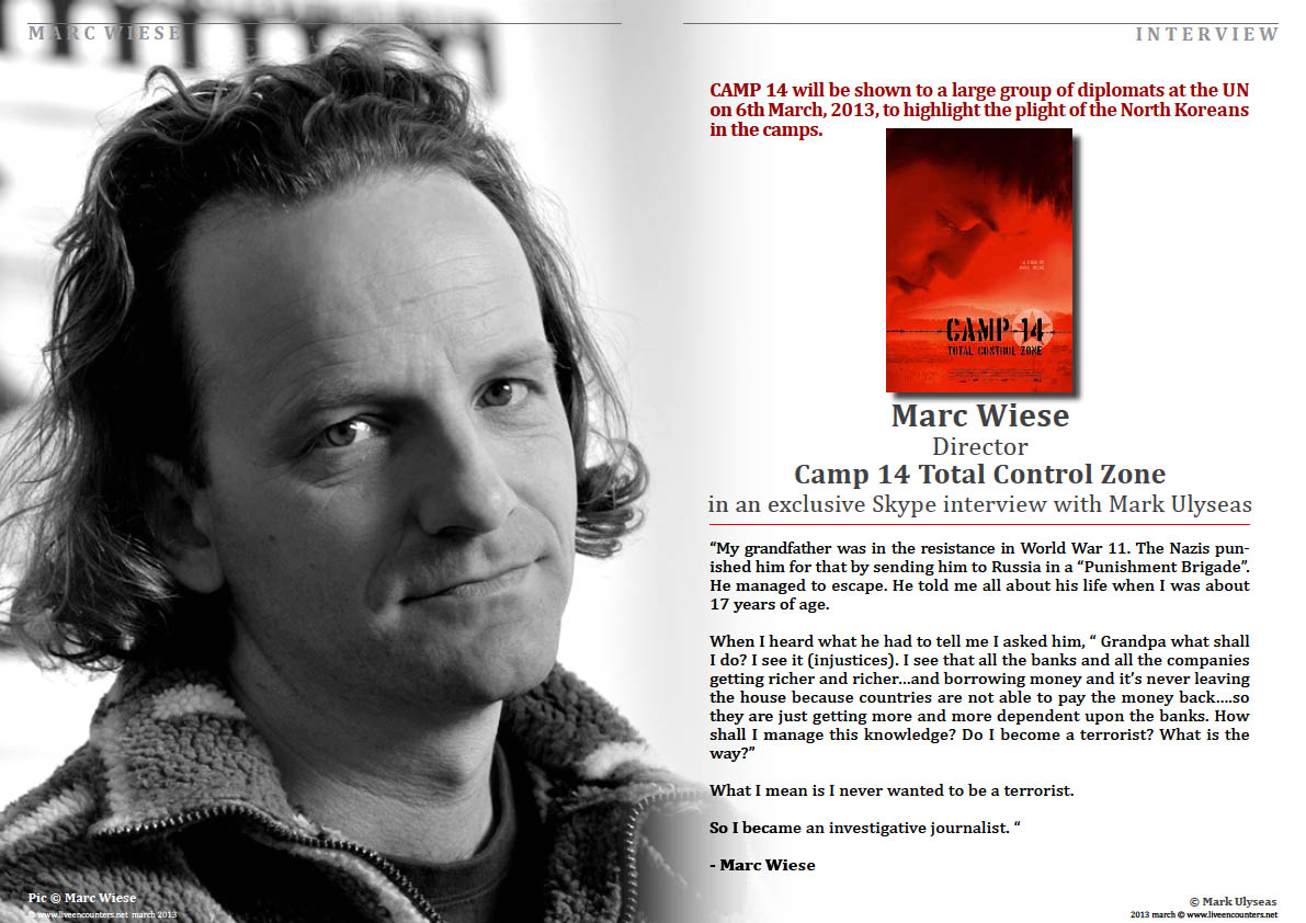 Page one Marc Wiese - Camp 14 Total Control Zone Live Encounters Magazine March 2014