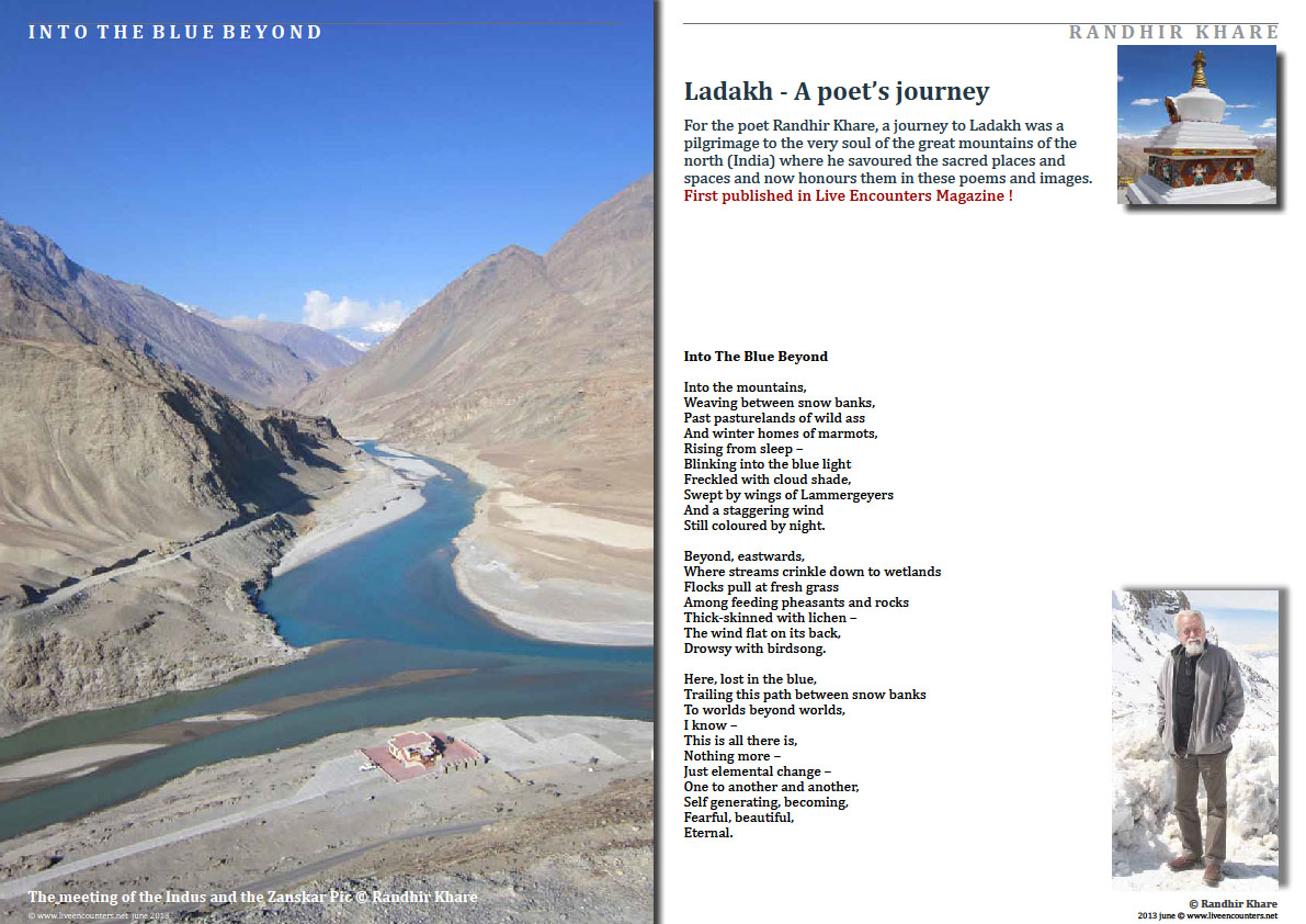 Page One Randhir Khare - A Poet's Journey into The Blue Beyond - Live Encounters Magazine June 2013