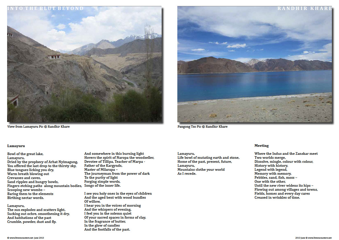 Page Six Page One Randhir Khare - A Poet's Journey into The Blue Beyond - Live Encounters Magazine June 2013