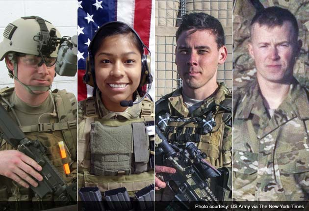 Photo of Sgt Joseph Peters, First Lt Jennifer Moreno, Sgt Patrick Hawkins and Pfc Cody Patterson who were killed in Afghanistan