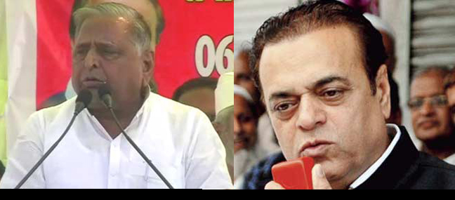 Left to Right - Mulayam Singh, the chief of Uttar Pradesh's ruling Samajwadi Party. State Samajwadi Party (SP) chief Abu Azmi