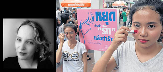Activists smear lipstick under their eyes to represent bruising during a campaign to raise awareness about violence against women. Photo: Bangkok Post - http://www.thephuketnews.com/thailands-battered-and-scared-women-find-a-new-life-42999.php