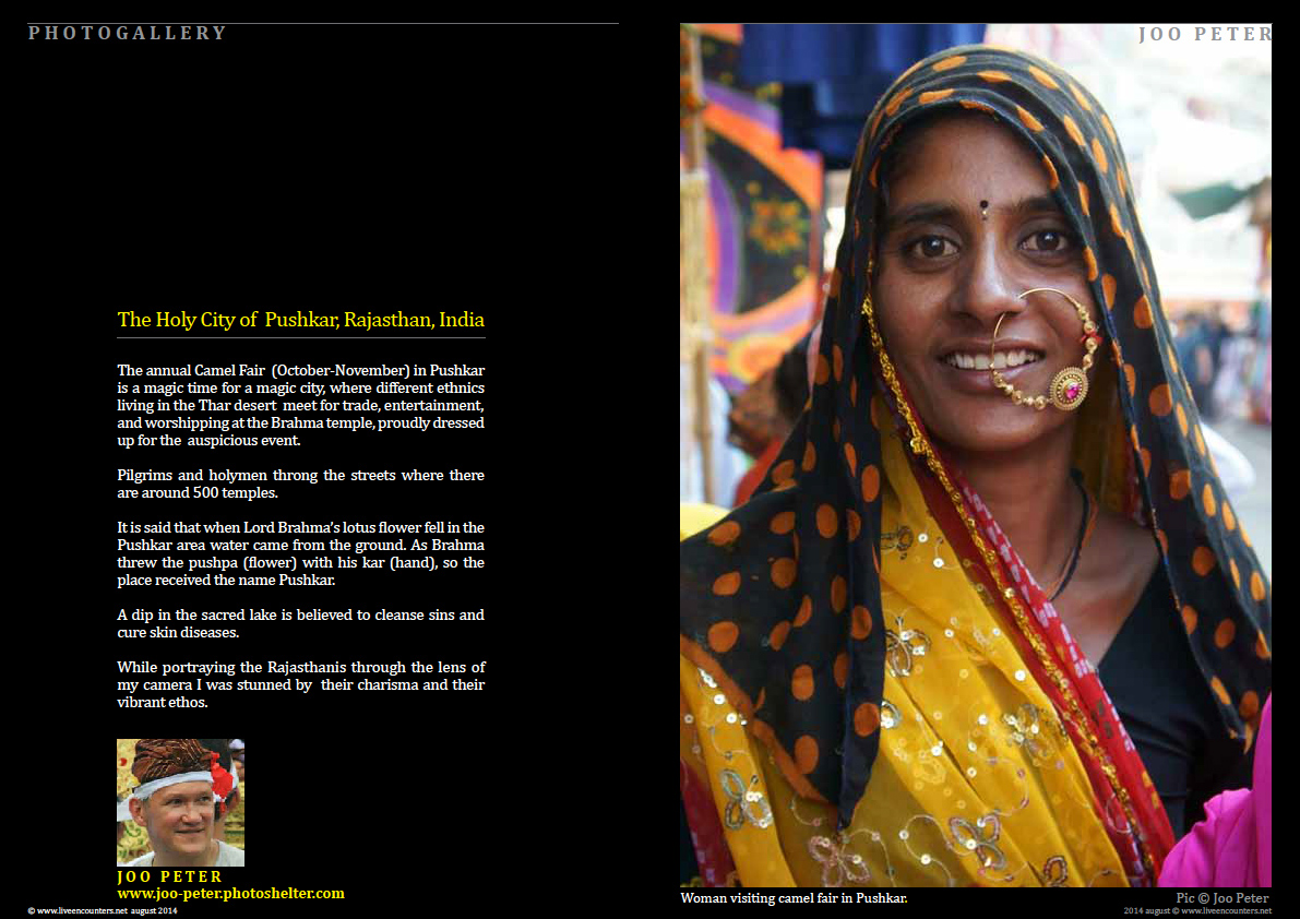 Joo Peter - Pushkar, Rajastan, India - Live Encounters Magazine August 2014
