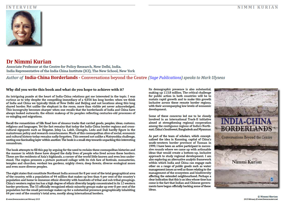 Page 1Author of India-China Borderlands - Conversations beyond the Centre - Dr Nimmi Kurian