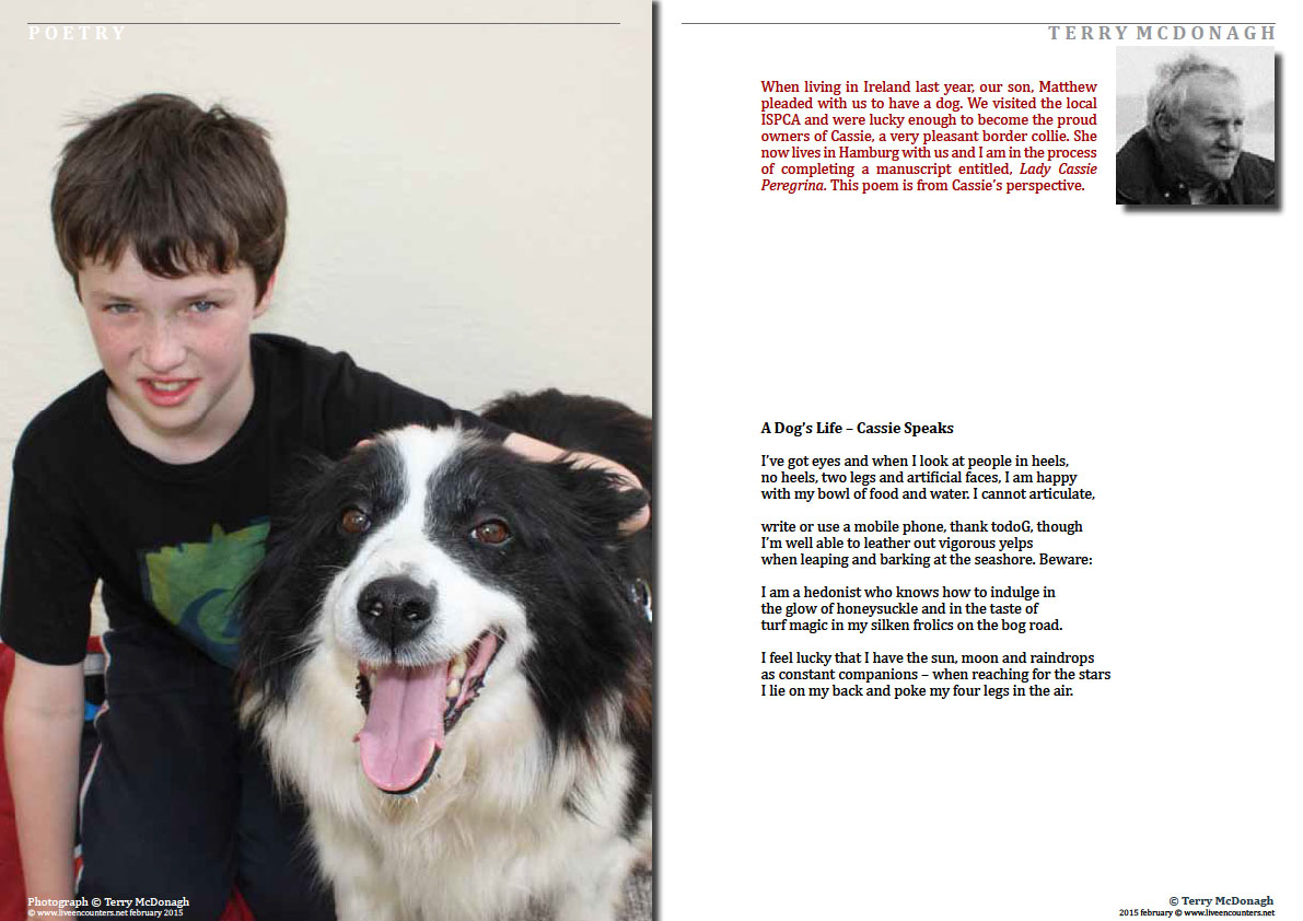 Page One A Dog's Life – Cassie Speaks by Terry McDonagh, Irish poet, writer  and playwright