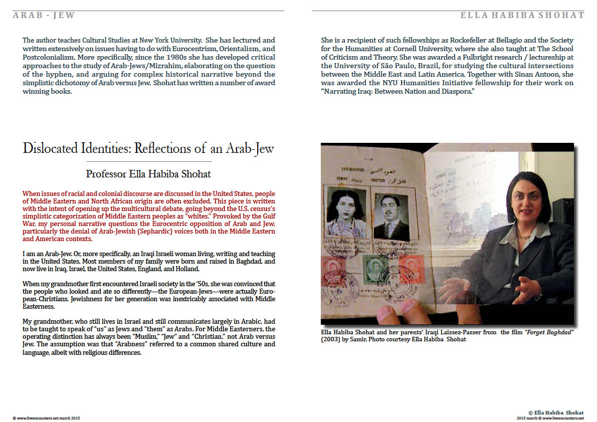 Page 1Dislocated Identities: Reflections of an Arab-Jew by Professor Ella Habiba Shohat