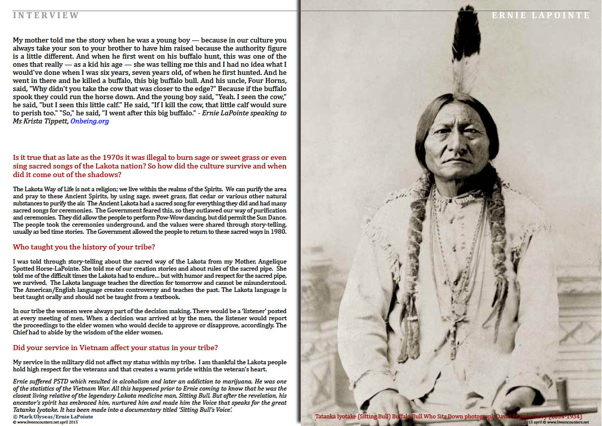 Page Four Ernie LaPointe great grandson of Tatanka Iyotake (Sitting Bull) Buffalo Bull Who Sits Down Live Encounters Magazine April 2015