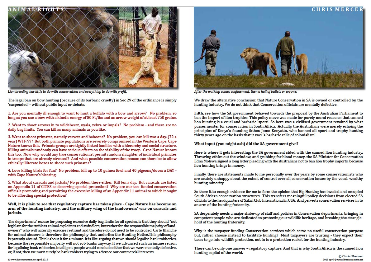 Page Four Chris Mercer on Canned Lion hunting and Regulatory Capture Live Encounters Magazine April 2015