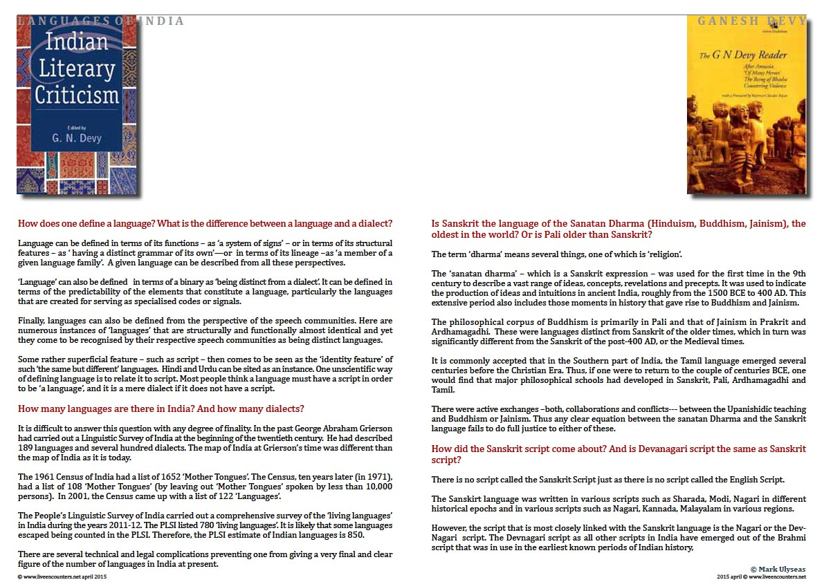 Page Two Professor Ganesh Devy Chair People's Linguistic Survey of India speaks to Mark Ulyseas on the languages of India Live Encounters Magazine April 2015