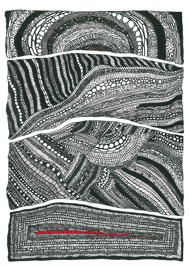 Drawing by Randhir Khare from his new series Earth Lines  which is part of his 7th solo exhibition opening later this year.