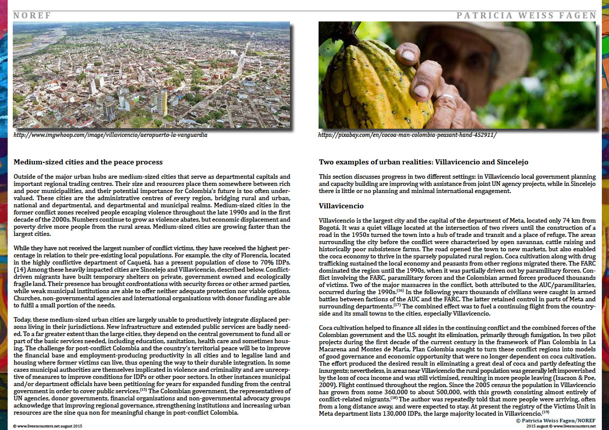 Page Five Colombia: urban futures in conflict zones by Patricia Weiss Fagen Live Encounters Magazine August 2015