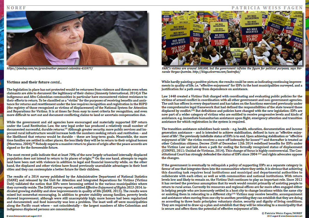 Page Four Colombia: urban futures in conflict zones by Patricia Weiss Fagen Live Encounters Magazine August 2015