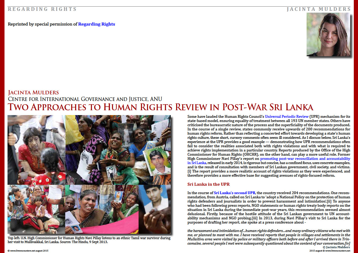 Page One Two Approaches to Human Rights Review in Post-War Sri Lanka by Jacinta Mulders Live Encounters Magazine August 2015