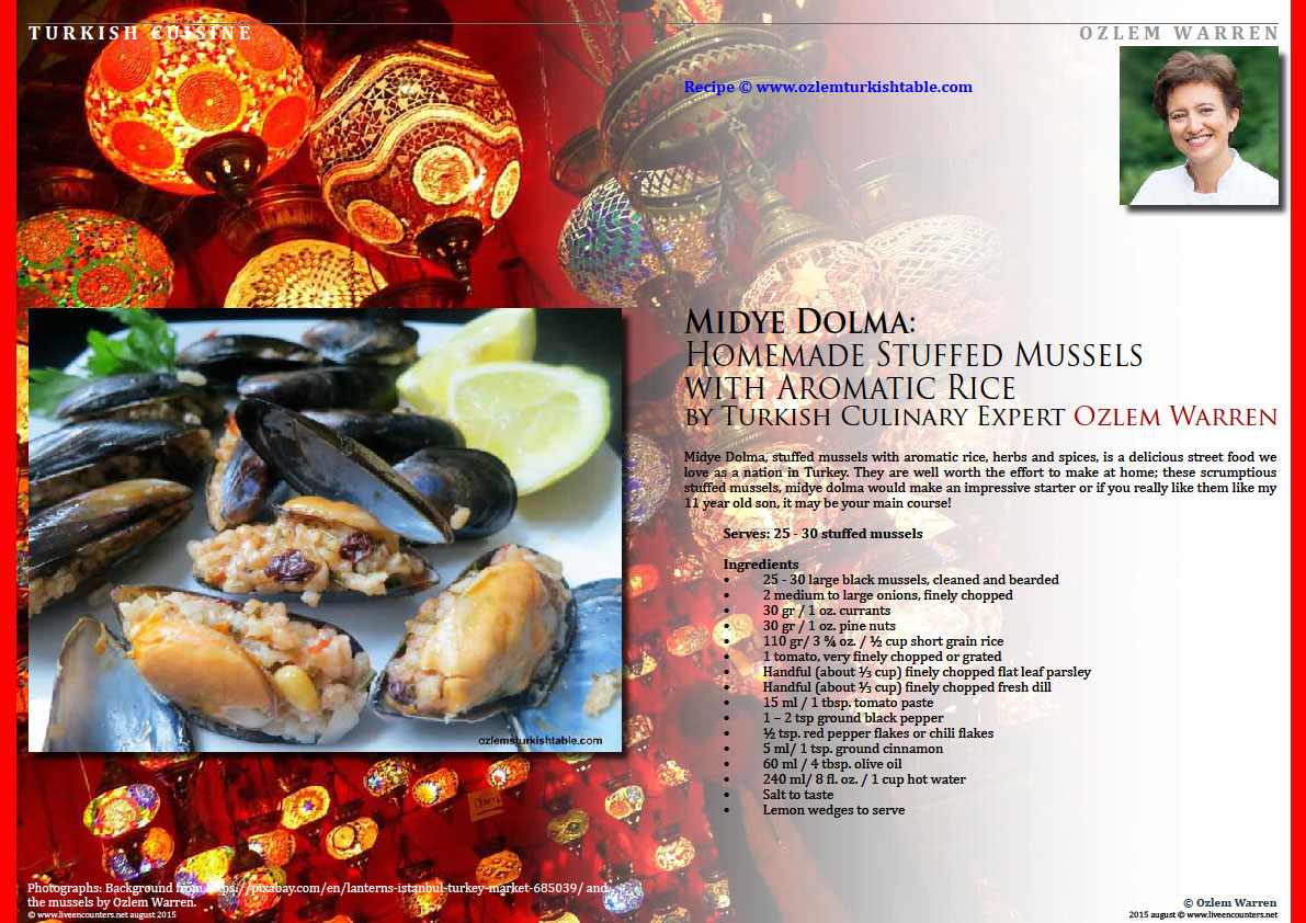 Page One Midye Dolma:  Homemade Stuffed Mussels  with Aromatic Rice  by Turkish Culinary Expert Ozlem Warren Live Encounters Magazine August 2015