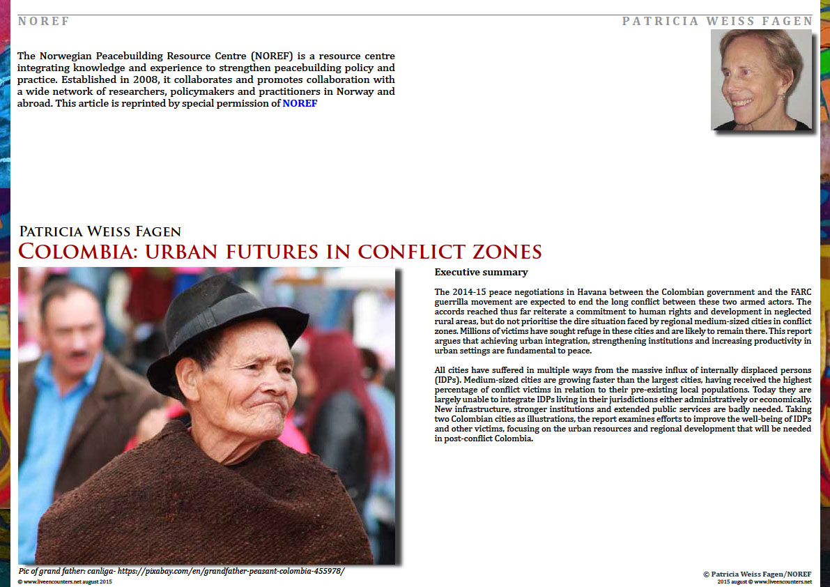 Page One Colombia: urban futures in conflict zones by Patricia Weiss Fagen Live Encounters Magazine August 2015