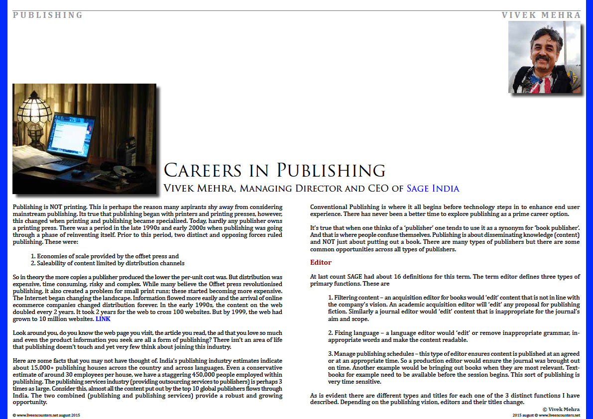 Page One Careers in Publishing by Vivek Mehra, Managing Director and CEO of Sage India Live Encounters Magazine August 2015
