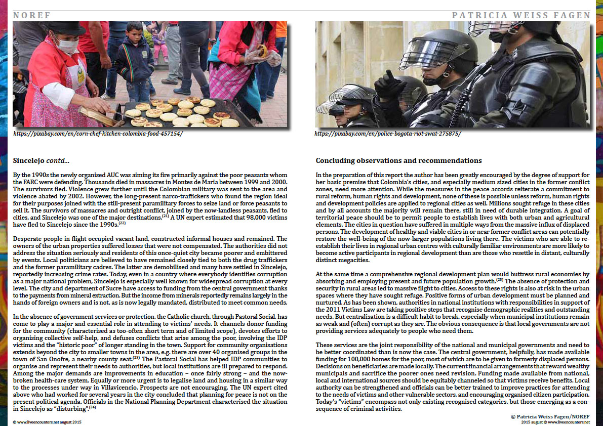 Page Seven Colombia: urban futures in conflict zones by Patricia Weiss Fagen Live Encounters Magazine August 2015