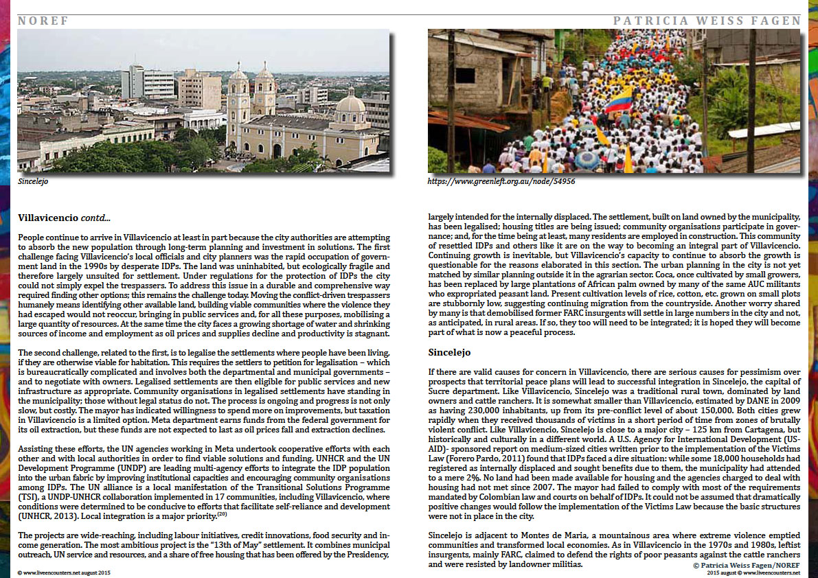 Page Six Colombia: urban futures in conflict zones by Patricia Weiss Fagen Live Encounters Magazine August 2015