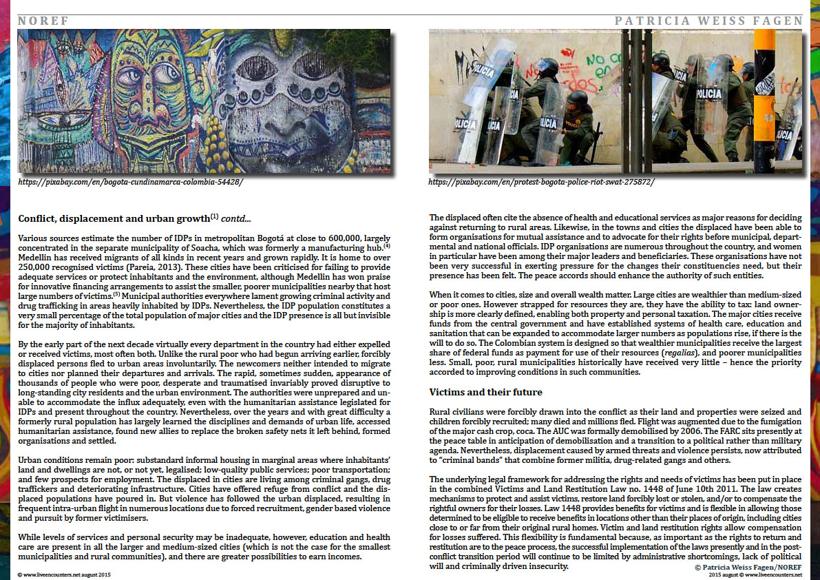 Page Three Colombia: urban futures in conflict zones by Patricia Weiss Fagen Live Encounters Magazine August 2015