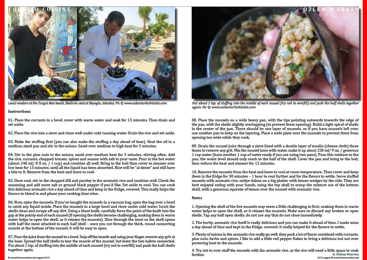Page Two Midye Dolma:  Homemade Stuffed Mussels  with Aromatic Rice  by Turkish Culinary Expert Ozlem Warren Live Encounters Magazine August 2015
