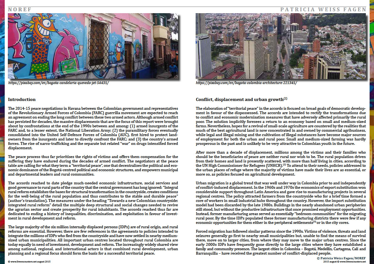 Page Two Colombia: urban futures in conflict zones by Patricia Weiss Fagen Live Encounters Magazine August 2015