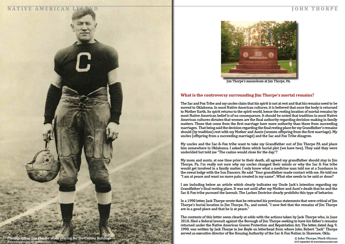 Page Four John Thorpe Grandson of American Legend Jim Thorpe Speaks Out Live Encounters Magazine September 2015