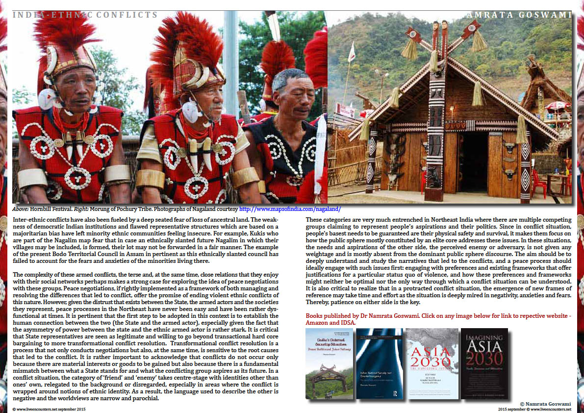 Page Four Ethnic Conflicts in Northeast India by  Dr Namrata Goswami, Live Encounters Magazine September 2015