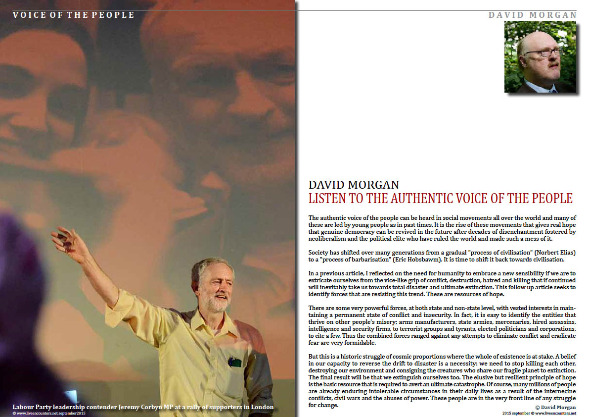 Page One Listen To The Authentic Voice Of The People by David Morgan Live Encounters Magazine September 2015