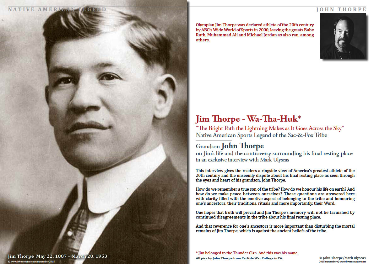 Page One John Thorpe Grandson of American Legend Jim Thorpe Speaks Out Live Encounters Magazine September 2015
