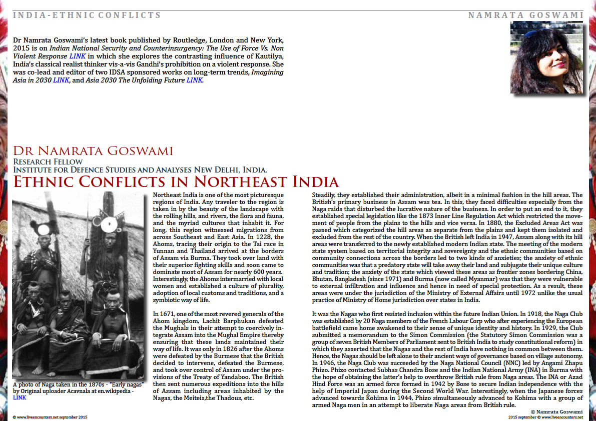 Page One Ethnic Conflicts in Northeast India by  Dr Namrata Goswami, Live Encounters Magazine September 2015