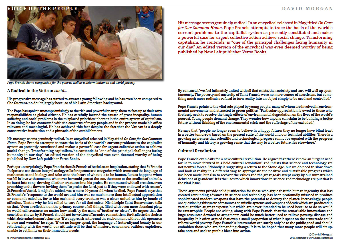 Page Three  Listen To The Authentic Voice Of The People by David Morgan Live Encounters Magazine September 2015