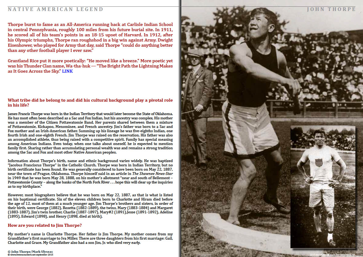 Page Three John Thorpe Grandson of American Legend Jim Thorpe Speaks Out Live Encounters Magazine September 2015