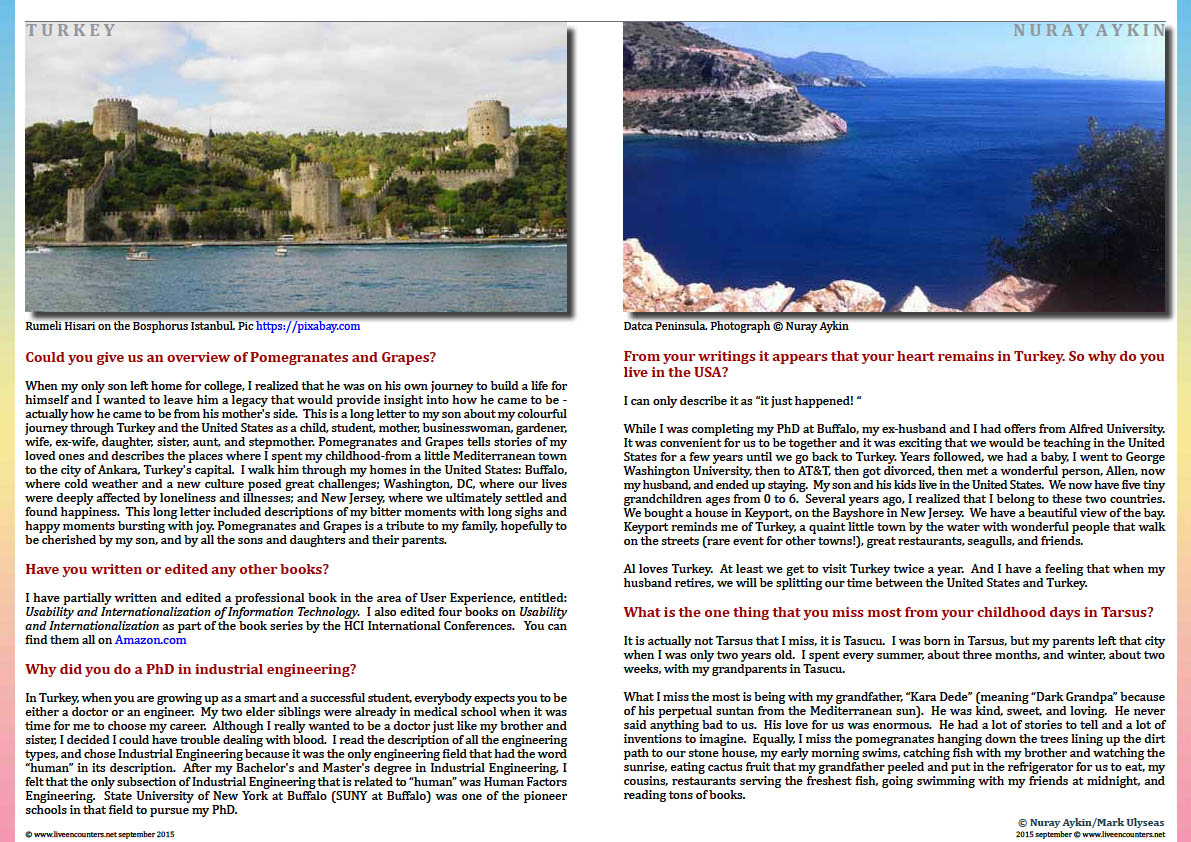 Page Three Dr Nuray Aykin author of Pomegranates and Grapes: Landscapes from My Childhood in an exclusive interview with Mark Ulyseas Live Encounters Magazine September 2015