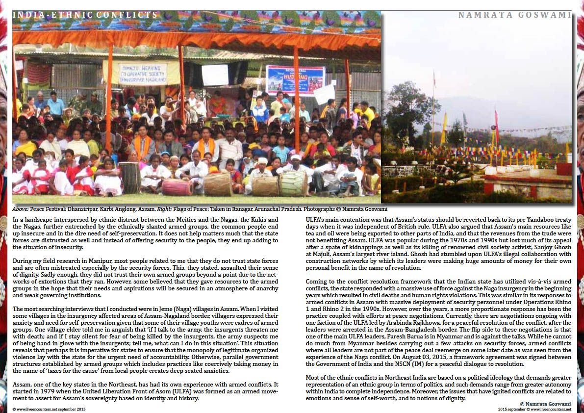 Page Three Ethnic Conflicts in Northeast India by  Dr Namrata Goswami, Live Encounters Magazine September 2015