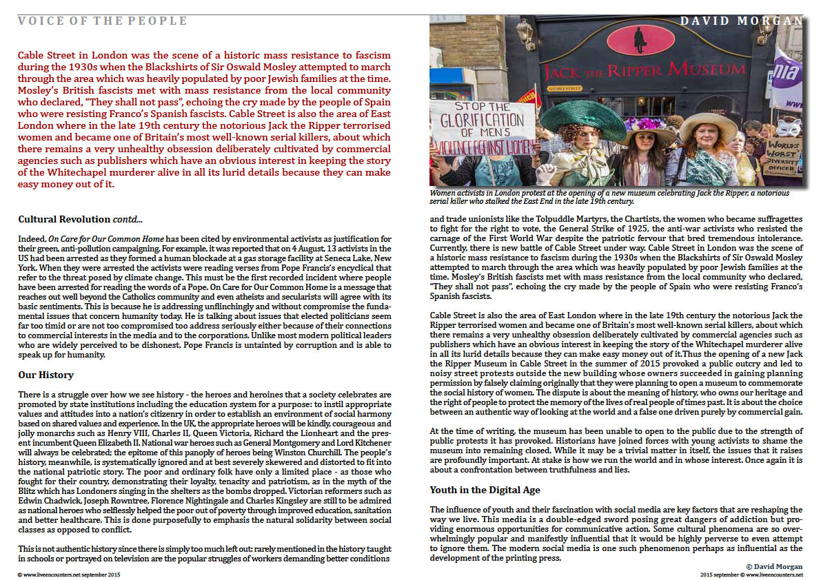 Page four  Listen To The Authentic Voice Of The People by David Morgan Live Encounters Magazine September 2015