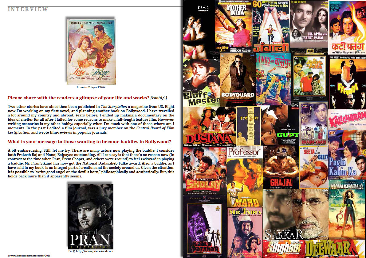 Page Five Bollywood Baddies, author Tapan K Ghosh in a live encounter with Mark Ulyseas live encounters magazine October 2015