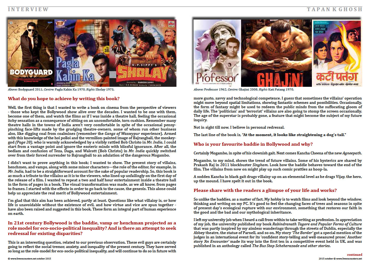 Page Four Bollywood Baddies, author Tapan K Ghosh in a live encounter with Mark Ulyseas live encounters magazine October 2015