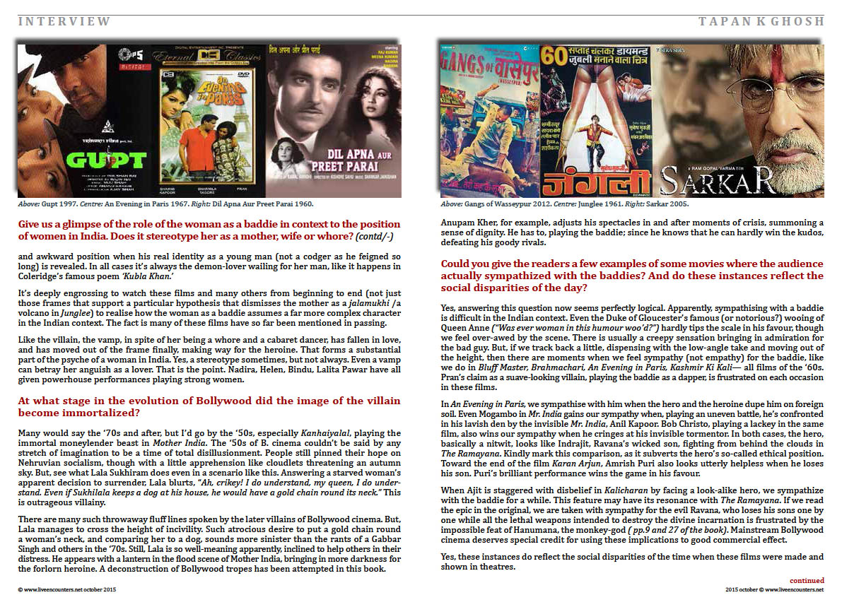Page Three Bollywood Baddies, author Tapan K Ghosh in a live encounter with Mark Ulyseas live encounters magazine October 2015