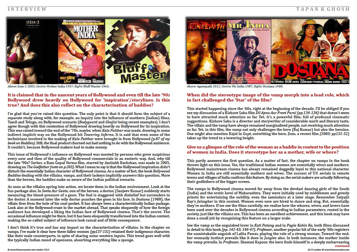 Page Two Bollywood Baddies, author Tapan K Ghosh in a live encounter with Mark Ulyseas live encounters magazine October 2015