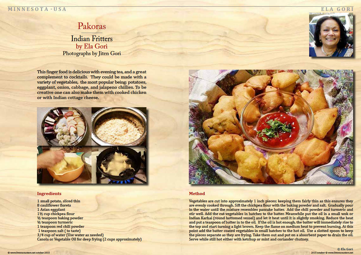 Page one Ela Gori Two recipes from Minnesota with photographs by Jiten Gori Live Encounters Magazine october 2015