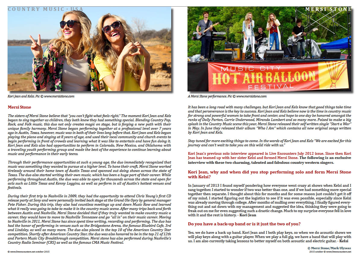 Page two Mersi Stone A Live Encounter with Country Music's First ladies Live Encounters Magazine October 2015
