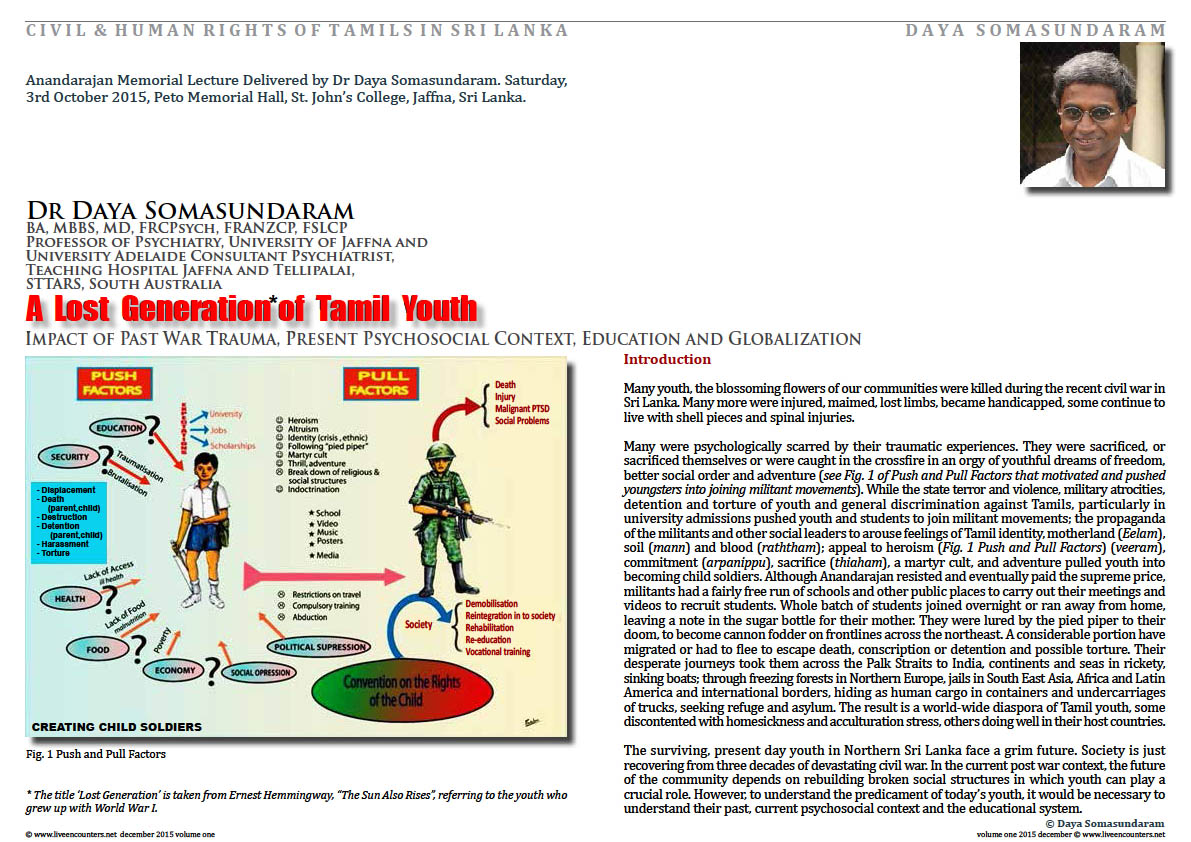 Live Encounters Dr Daya Somasundaram A Lost Generation of Tamil Youth Volume One December 2015 page one